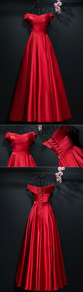 Simple A Line Satin Pleated Off Shoulder Formal Party prom Dress   cg10128