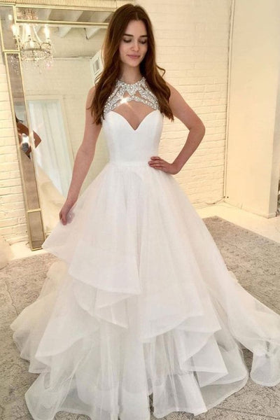 White tulle long prom dress, white tulle evening dress cg1012