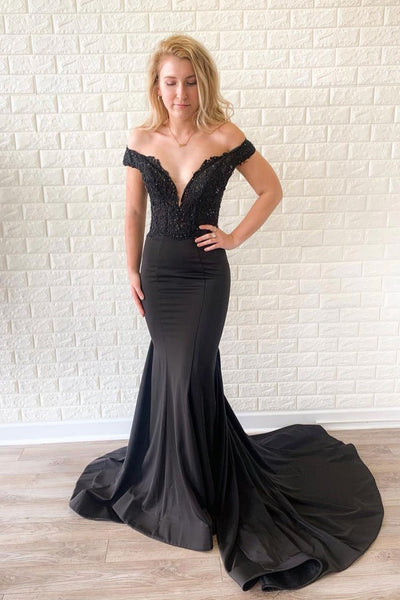 Black mermaid lace long prom dress, black evening dress cg1013