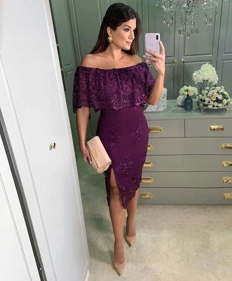 Purple Off Shoulder Lace Homecoming Dresses cg10134