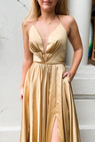 Halter Lace-Up Mesh Gold Long Prom Dress with Slit   cg10136