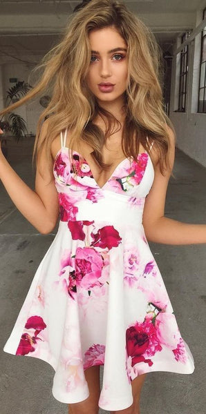 floral print homecoming dresses, chic a-line fashion gowns   cg10143