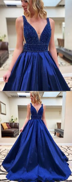 V-neck Royal Blue Beading Bodice Satin Prom Dress with Pockets   cg10151