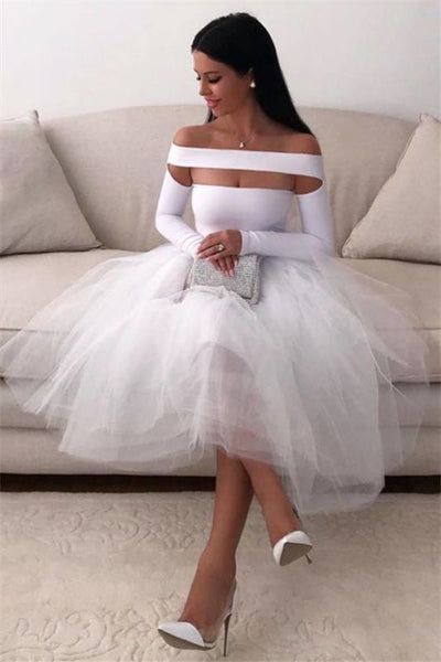 Sexy White Homecoming Dress for Women Long Sleeve Short    cg10171