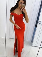 Simple Slit Red Mermaid Evening Dress, Long Prom Dresses    cg10174