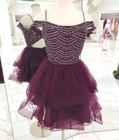 Cute tulle sequin short dress, cute homecoming dress cg1018
