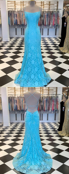 Spaghetti Strap Cyan Lace Mermaid Prom Dress   cg10191