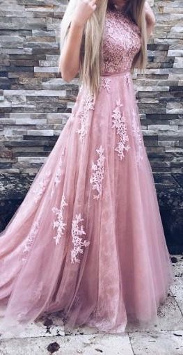 Blush Pink Lace Beaded A-line Long Evening Prom Dresses  cg10195