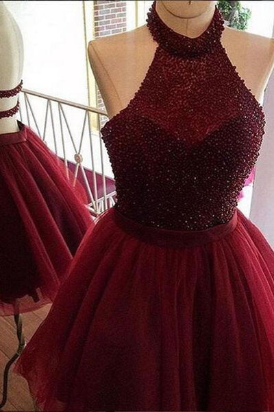 Burgundy Homecoming Dress,a Line Homecoming Dress,halter Party Dress cg101
