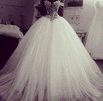 Gorgeous Crystal Beading Tulle Ball Gown prom dress Wedding Dresses cg1020