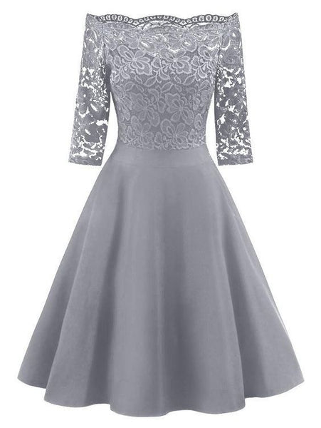 Gray Off The Shoulder Homecoming Dress   cg10210
