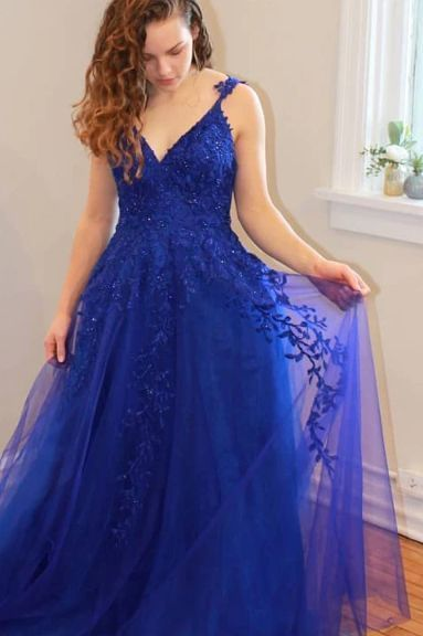 Royal Blue lace tulle Evening Dress,  Prom Dress   cg10213