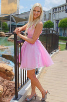 Backless Pink Short Homecoming Dress with Beading    cg10214
