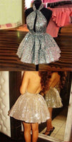 Shiny Silver Sequins Dress,Short Mini Homecoming Dance Dress    cg10219