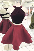 Cute burgundy two pieces short dress, burgundy homecoming dress cg1021