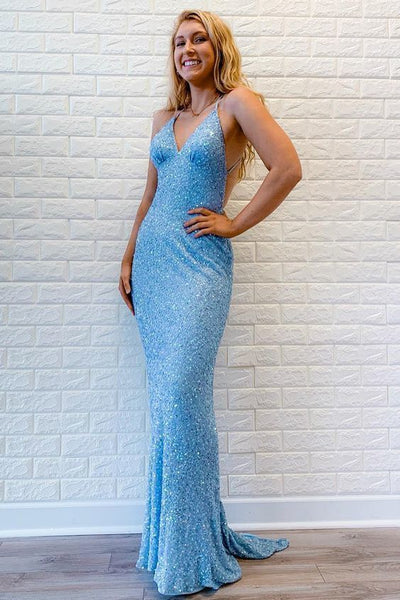 Mermaid Criss Cross Sequins Sky Blue Long Prom Dress   cg10225