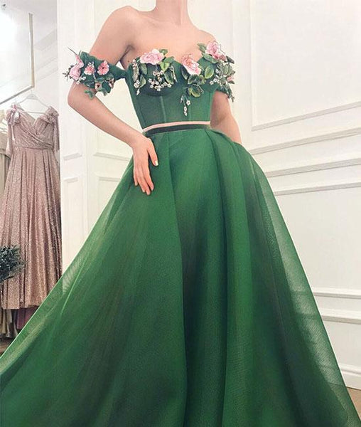 Green sweetheart off shoulder long prom dress, green evening dress cg1022