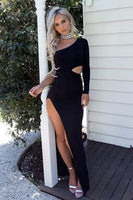black one shoulder tight prom evening dress   cg10239
