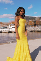 mermaid spaghetti straps yellow prom party dress  cg10240