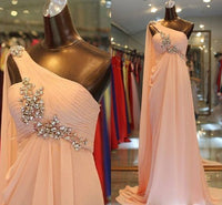 pink prom dress, one shoulder prom dress   cg10242