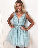 chic v-neck sleeveless sky blue homecoming dresses with appliques, fashion simple a-line dresses   cg10244