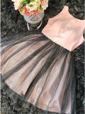 A-Line Round Neck Pink Tulle Homecoming Dress   cg10255