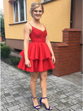 A-Line Spaghetti Straps Red Satin Short Homecoming Dress with Lace   cg10258