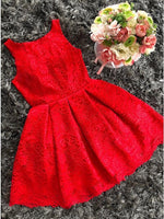 A-Line Round Neck Red Lace Short Homecoming Dress   cg10260