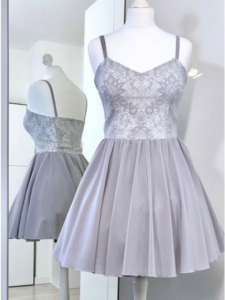 A-Line Spaghetti Straps Grey Short Homecoming Dress with Lace   cg10262