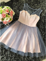 A-Line Round Neck Pink Tulle Homecoming Dress with Appliques   cg10264
