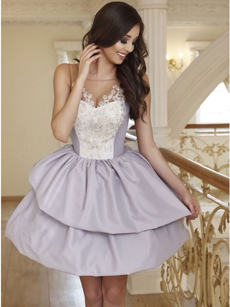 A-Line Round Neck Grey Short Homecoming Dress with Appliques   cg10267