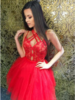 A-Line Cross Neck Red Tulle Homecoming Dress with Lace   cg10268