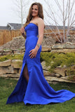 royal blue mermaid long formal prom dress with side slit   cg10277