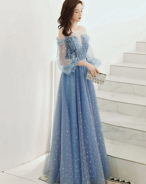 2021 BLUE ROUND NECK TULLE SEQUIN LONG PROM DRESS TULLE EVENING DRESS   cg10278