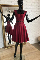 Burgundy two pieces short dress, burgundy homecoming dress cg1027