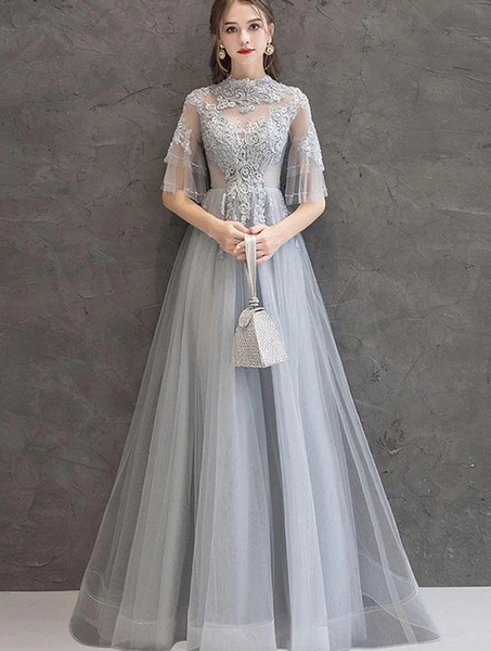 CUTE GRAY LACE TULLE LONG PROM DRESS GRAY TULLE LACE FORMAL DRESS   cg10286