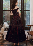 CUTE BURGUNDY SEQUIN TEA LENGTH PROM DRESS BURGUNDY EVENING DRESS   cg10289