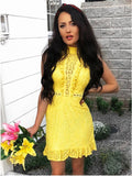 Sheath High Neck Yellow Lace Homecoming Dress   cg10290