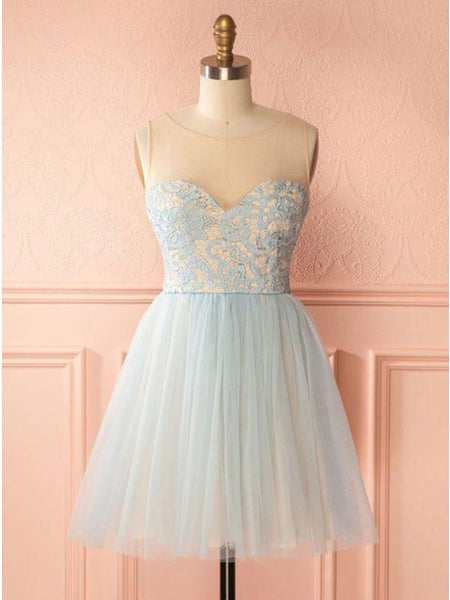A-Line Round Neck Backless Light Blue Homecoming Dress with Lace  cg10290