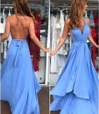 Backless Blue Maxi Dress Prom Dress   cg10293