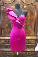 One Shoulder Fuchsia Homecoming Dress   cg10294