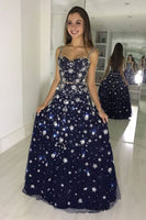 Unique tulle sequin long prom dress, blue tulle evening dress cg1029