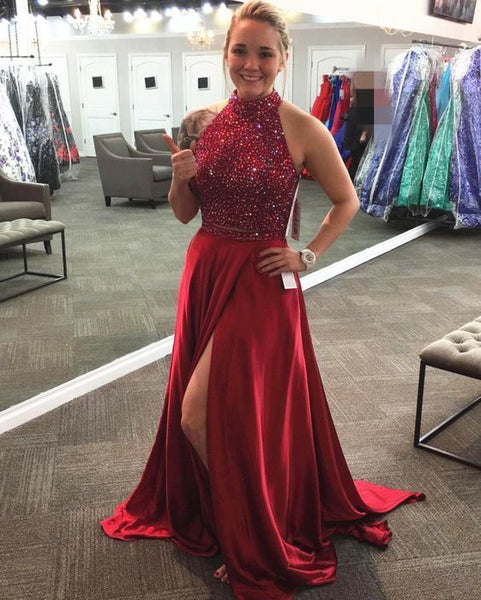 Red Prom Dress with Beading,Two Pieces Prom Dress with Slit,Long Formal Party   cg10309