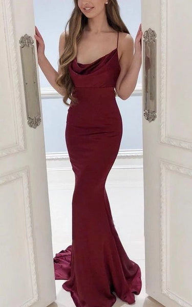 Burgundy Straps Mermaid Evening Dress, Long Prom Dress    cg10325