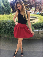 Two Piece Round Neck Sleeveless Burgundy Short Homecoming Dress   cg10330
