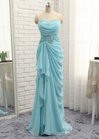 Sexy Prom Dresses Mermaid Sweetheart Turquoise Chiffon Crystals Bead Slit Prom Gown Evening Dresses   cg10339