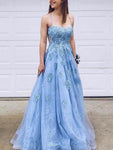 Open Back Prom Dresses with Spaghetti Straps Aline Sky Blue Long Lace Prom Dress  cg1033