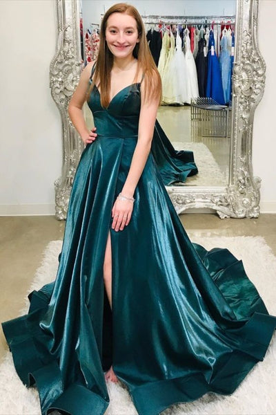 Turquoise Color with spaghetti straps and side slit prom dress   cg10342