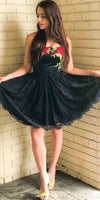 Strapless Black Lace Homecoming Party Dresses With Floral Embroidery   cg10347