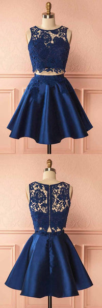 Two Piece Dark Blue Satin Homecoming Dress With Lace Appliques   cg10357